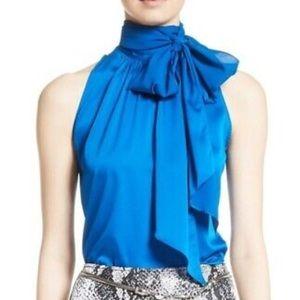 St. John Silk Charmeuse Halter Tie Blouse Blue M